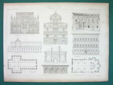 ARCHITECTURE PRINT 1864 - Italy Spain Renaissance Palace Pavia Venice Naples