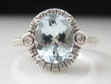 Aquamarine Diamond Ring Halo 14K White Gold Aqua Genuine Oval Jewelry Size 8.25
