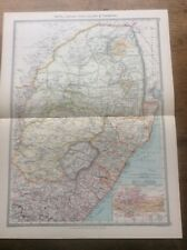 Antique c1904 colour Map Natal Transvaal & Orange River County HARMSWORTH ATLAS