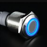 19mm 12V Auto Schalter Drucktaster Taster Druckschalter Beleuchtet Blau