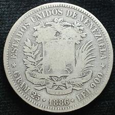 1886 Venezuela Bolivar argent 900 25 gr