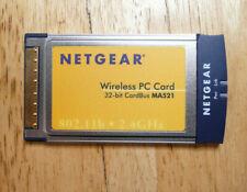 Netgear pcmcia MA521 WiFi adaptor 802.11b 2.4GHz, Cardbus PC Card