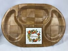 Vintage 1970 Woven Wood Cheese And Cracker Snack Tray