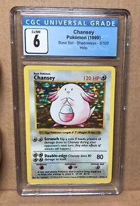 Pokemon Base Set 3/102 Shadowless CHANSEY Baset Set Holo CGC 6 PSA Equivalent