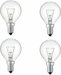 4 Pack 40W SES E14 Clear Golf Light Bulbs, Small Screw, Incandescent Dimmable