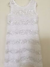 New Rare Editions white sequin sparkle sleeveless tie back scallop dress 6X