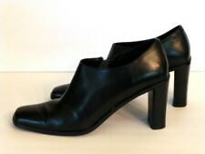 "Vintage Valerie Stevens Black Leather Side Zip Booties, 3 1/2"" Heel, Size 8M, A+"