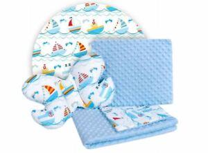 Baby Bedding Set For Cradles Baby Strollers 3in1 Blanket Pillow Ships Light Blue