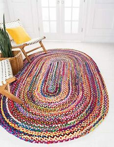 Rug 100% Natural Cotton handmade Reversible oval Rug modern area carpet rugs