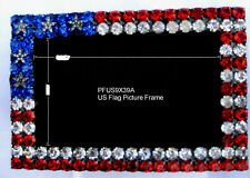 "DOROTHY BAUER U.S. Flag Pattern picture frame 2"" x 3"" with Swarovski Crystal A"