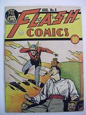 FLASH COMICS #8 w/Hawkman All American Comics 1940 Moldoff Cover Art
