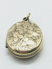 ANTIQUE VICTORIAN 9 CT GOLD BACK & FRONT LOCKET / PENDANT RARE COLLECTABLE 1870S