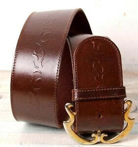 """Axcess Italy BROWN GENUINE LEATHER 2.25""""Wd EMBOSSED CORSET WOMEN'S BELT L (B80"""