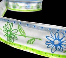 """2 Yards Lime Green Blue Drawn Daisy Flowers Glitter Accent Wired Ribbon 1 1/2""""W"""