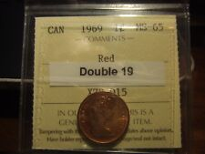 CANADA ONE CENT 1969 DOUBLE 19, ICCS MS-65 FULL RED!!!!!