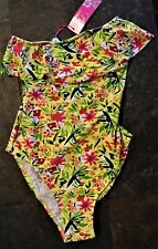 SWIMSUIT Swim Suit NEW NWT Strapless w/Top Ruffle Yellow w/Bright Flowers Sz 8 B
