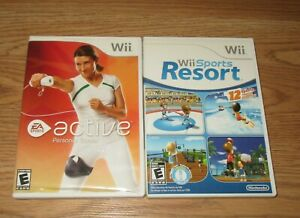 NINTENDO Wii SPORTS RESORT AND ACTIVE PERSONAL TRAINER GAMES- COMPLETE