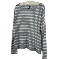 DIVIDED H&M Womens Top Size Large Long Sleeve Navy White Striped Viscose