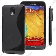 Housse Etui Coque Silicone S-line Gel Noir Samsung Galaxy Note 3 N9000 + Stylet