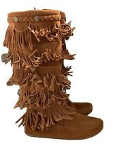 Minnetonka Brown Suede Layered Fringe Tall Boots Women's Size 9