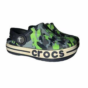 Crocs Iconic Comfort Green Gray Camouflage Platform Clogs C 7
