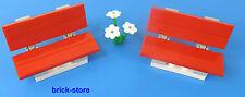 LEGO®  City/Eisenbahn 2 x Bank / rot  mit weiße Blume