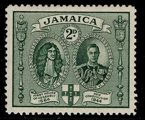 JAMAICA GVI SG135, 2d green, LH MINT. Cat £17. PERF 12½