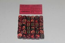 Chessex Black Red with Gold 36 Gemini 12mm Pipped Dice CHX 26833