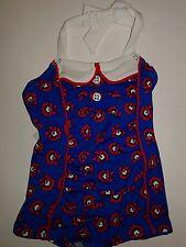 Janie and Jack Baby Girls Parisian Poppy Indigo Blue Red Swimsuit 3-6 months