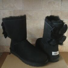 UGG SHORT BAILEY BOW II VELVET RIBBON BLACK SUEDE BOOTS SIZE US 10 WOMENS NIB