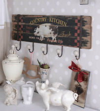 Wall hooks in a cottage-style hook strip Country Kitchen ceramic handles