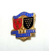VINTAGE ENAMEL BUDE BOWLING CLUB BROOCH / BADGE / PIN