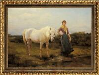 "Old Master-Art Antique Oil Painting Portrait girl horse on canvas 24""x36"""