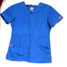 Dickies Women's Royal Blue Medical Hospital Scrubs Shirt Top Size XS