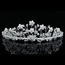 Bridal Flower Rhinestone Crystal Pearls Prom Wedding Crown Tiara 7771