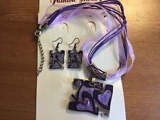 1Rectangular Purple Crystal & Enamel Necklace/Ribbon & Cord & Bronze Earring Set