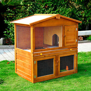 Rabbit Guinea Pig Ferret Hutch House Cage Pen With Built In Run Running New