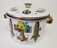 "Georges Briard Enamelware Dutch Oven Pot Sauce Pan w Lid Corn Pattern 8"" VTG"