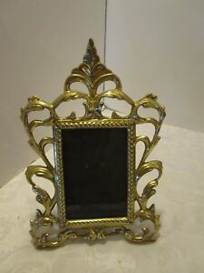 """Vintage BRASS Picture ornate framed easel table top 11½"""" T Victorian style"""