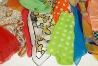 Lot of 13 Vintage Hair Head Scarf Wraps Retro Prints Polka Dots Solids