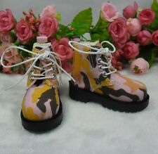 MSD DOC 1/4 Bjd Sasha  Obitsu 60cm Doll Boots High Hill Shoes Camouflage Pink