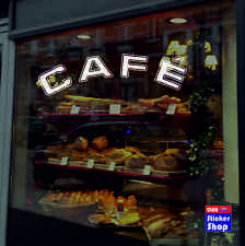 Cafe Cafeteria Coffee Shop Window Sign Sticker Graphics -  White