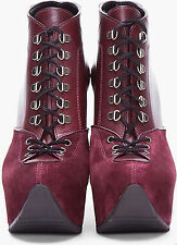 YVES SAINT LAURENT AUBERGINE LACE-UP WEDGE ANKLE BOOT Sz. 9