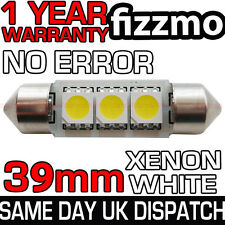 39 millimetri TARGA INTERNI 6000K Luminoso Bianco 3 SMD LED C5W Festoon LAMPADINA
