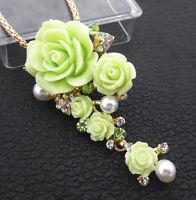 Betsey Johnson Green Resin Crystal Rose Flower Pendant Long Necklace/Brooch