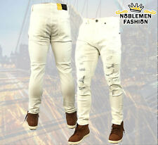 MEN JEANS SLIM STRETCH FIT SLIM FIT HIPSTER CASUAL RIPPED SKINNY PANTS