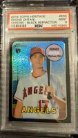 2018 Topps Heritage 600 Shohei Ohtani Black Refractor /69 RC Clean *PSA 9 MINT