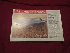 1971 DODGE DART DEMON RARE ORIGINAL SALES BROCHURE FLYER SHEET