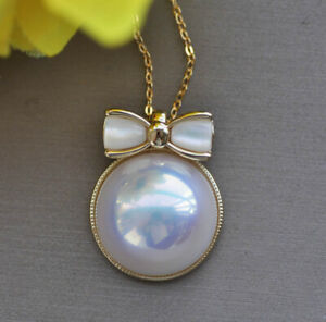 Z11109 Lustre 16mm White Shell Mabe Pearl Bowknot Chain Pendant CZ