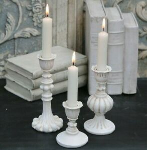Set 3 x Chic Antique Cream Candlestick Shabby Candle Holder Table Stick French
